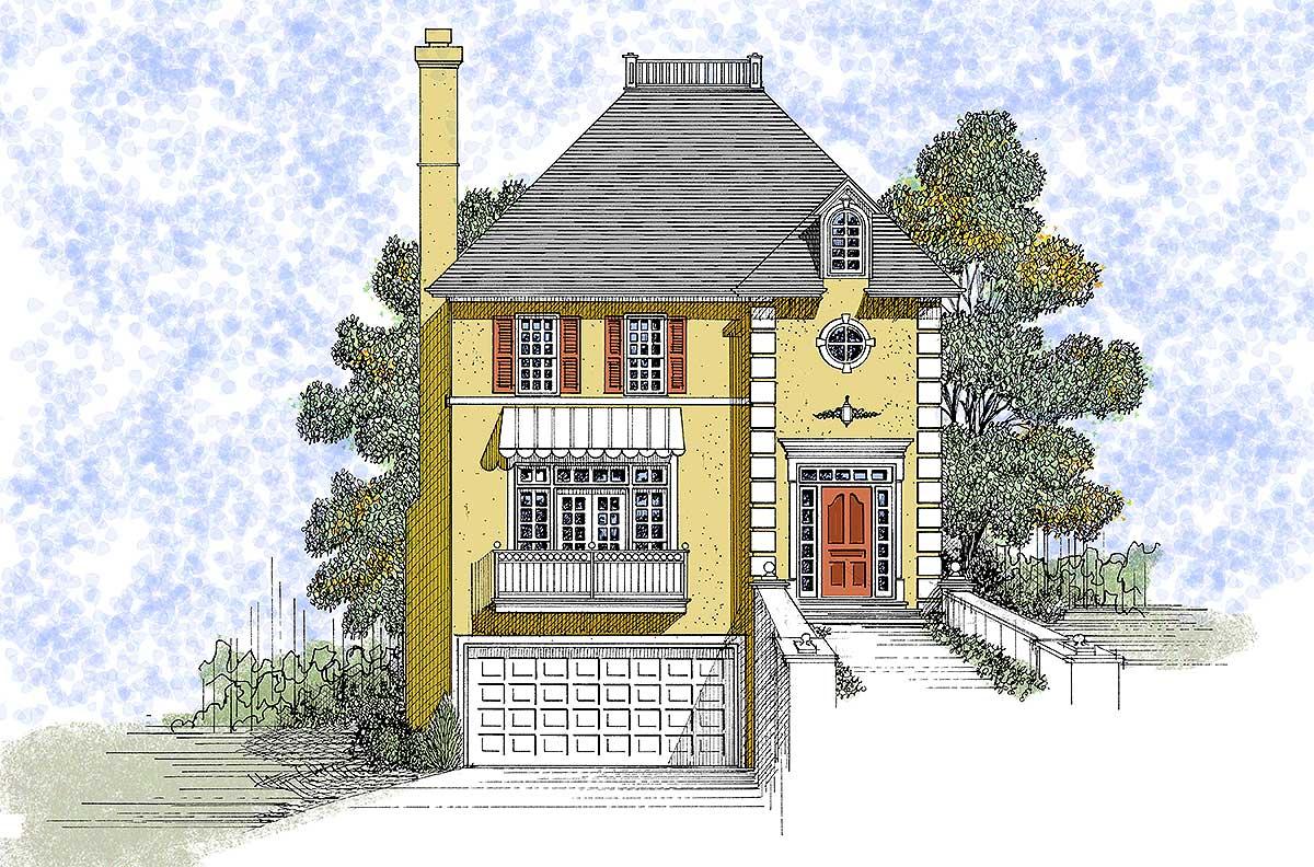 European design with drive under garage 2090ga 2nd for Drive under garage house plans