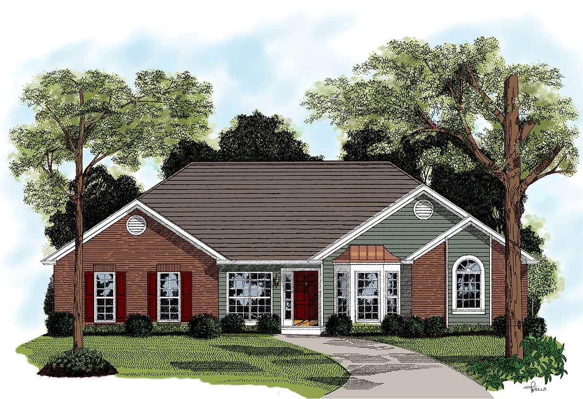Traditional brick ranch home plan 2092ga architectural for Brick ranch house plans
