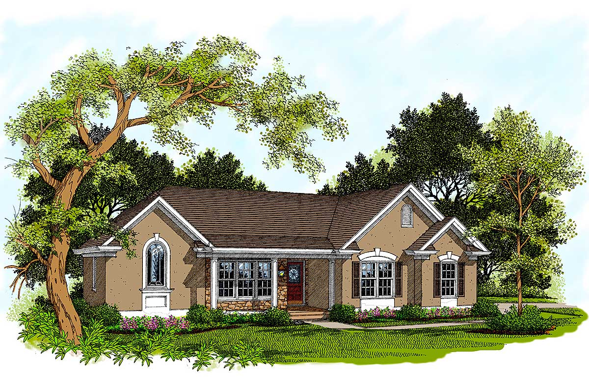 Traditional ranch home plan 2097ga architectural for Traditional ranch house plans