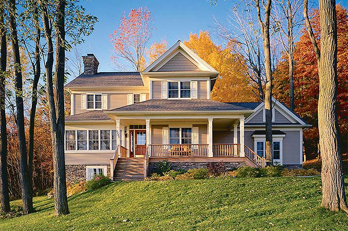Country Home Plan With Solarium - 2100DR