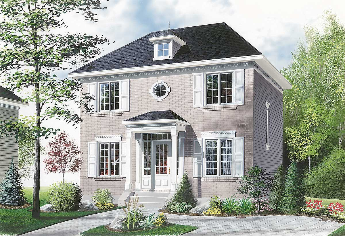 Compact two story house plan 21004dr 2nd floor master for Traditional house plans two story