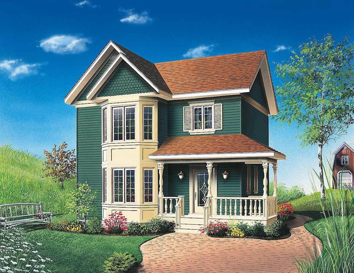 Compact victorian cottage 21005dr architectural for Victorian cottage plans