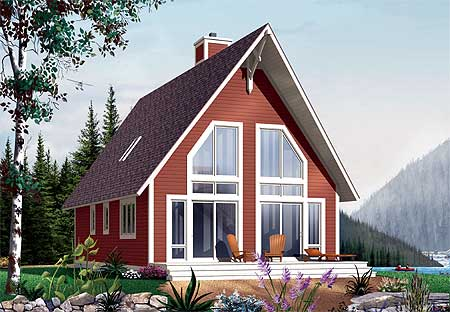Vacation escape with sleeping loft 21076dr 1st floor for Vacation home plans with loft