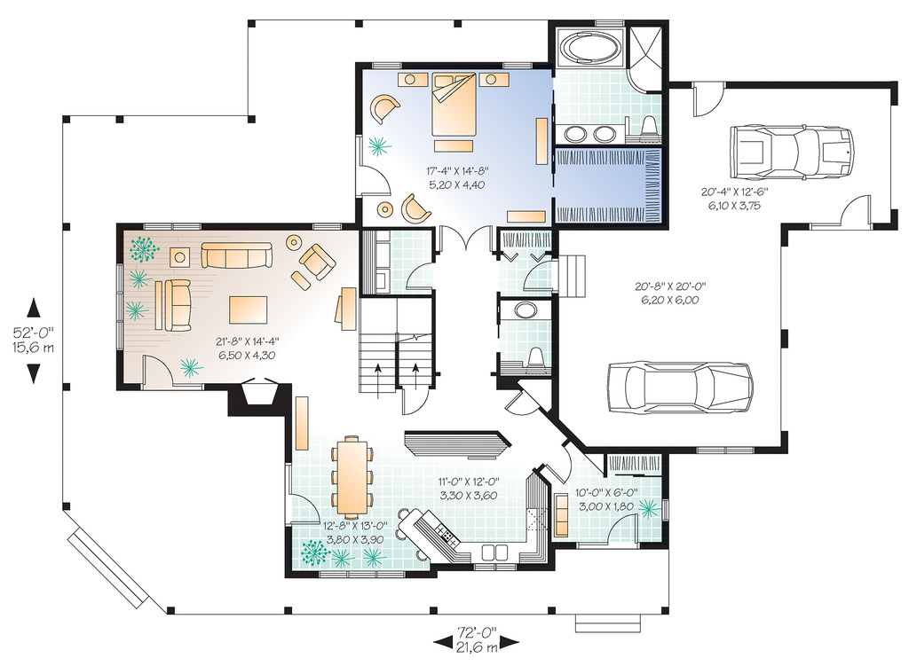 Two Family Rooms - 21123DR floor plan - Main Level
