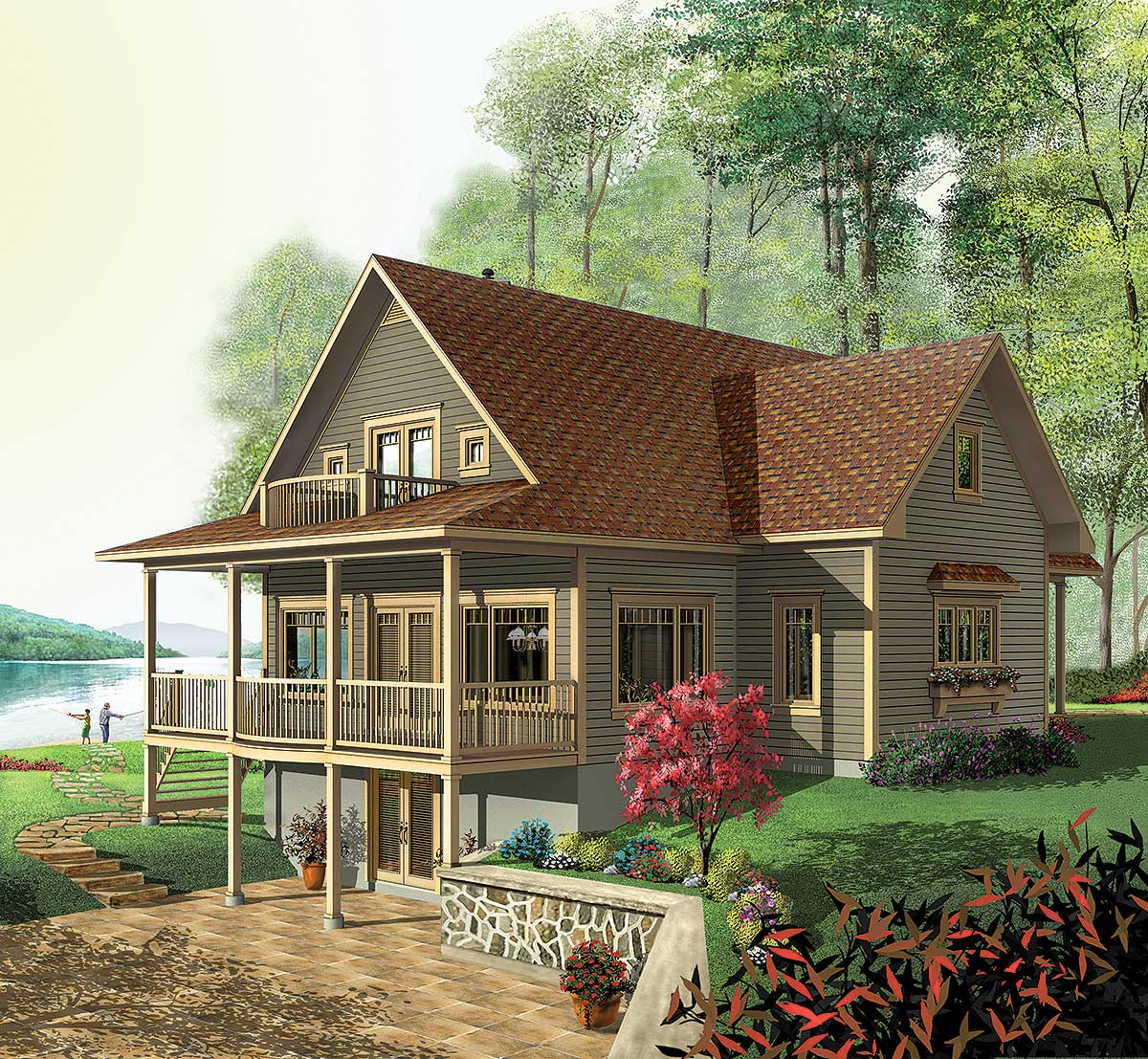 Dream design 21126dr 1st floor master suite cad Vacation house plans sloped lot