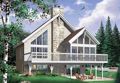Contemporary Vacation Home Design - 21178DR thumb - 01