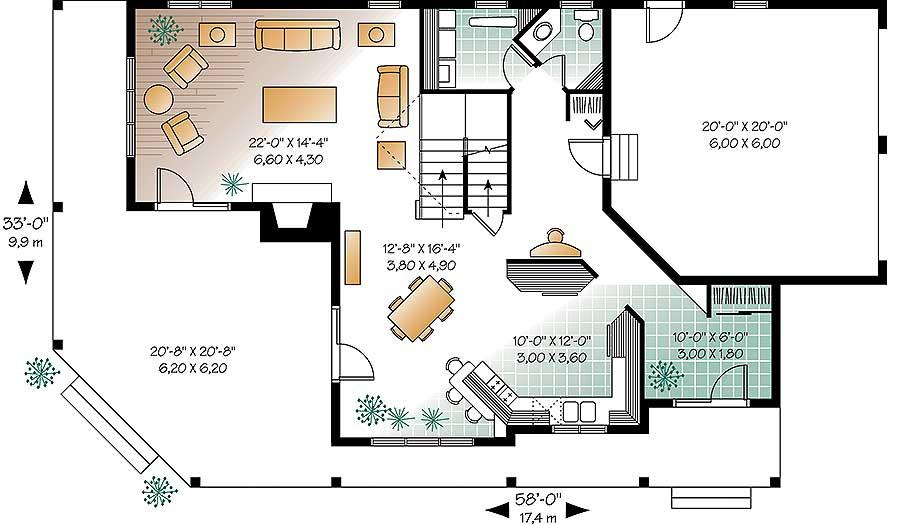 Wonderful Wrap-Around Porch - 2118DR floor plan - Main Level