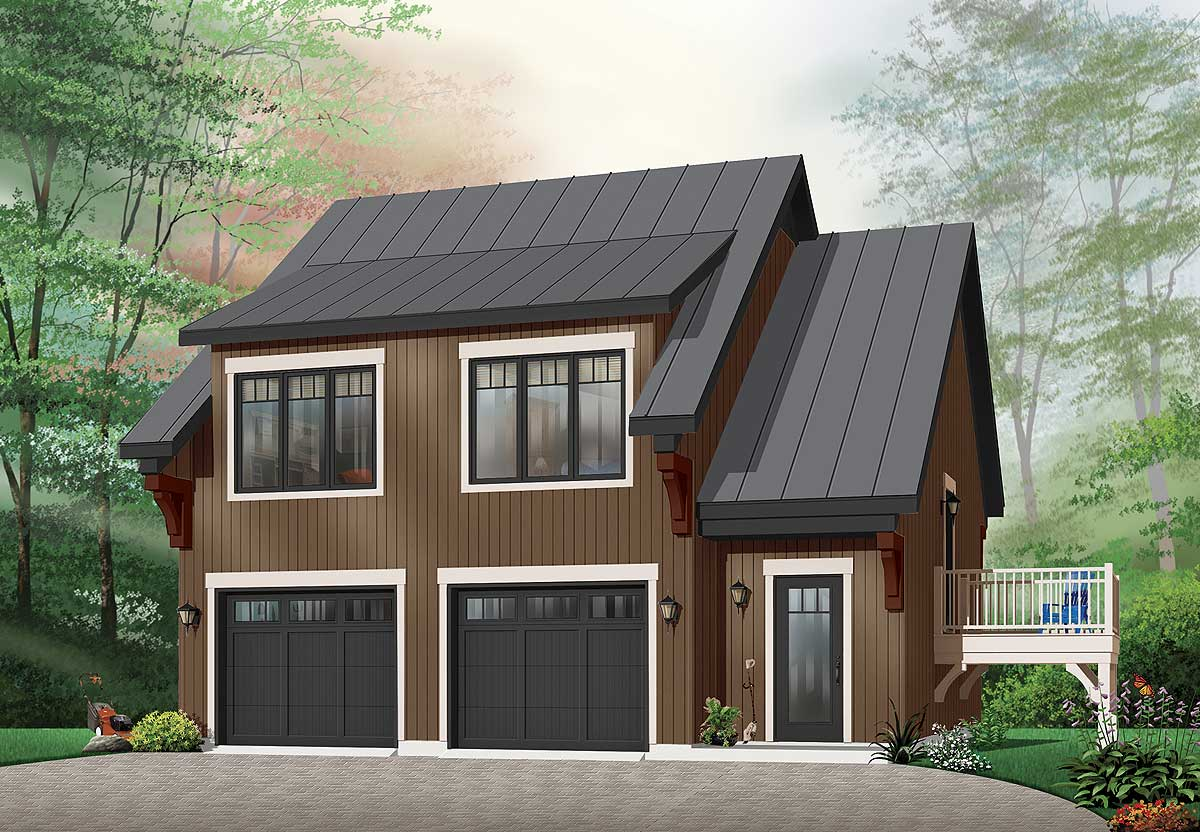 Comfortable garage apartment 21207dr 2nd floor master for Carriage house plans with apartment