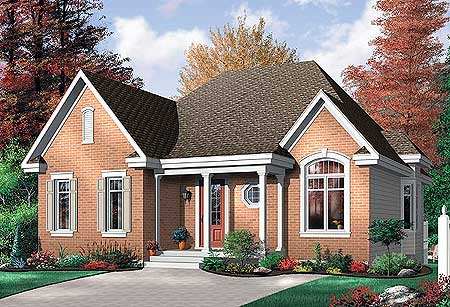 Economical 2 bedroom brick house plan 21213dr for Brick farmhouse plans