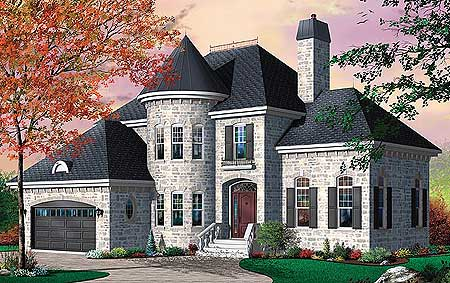 Distinctive 4 bed house plan with turret and options for Home plans with turrets