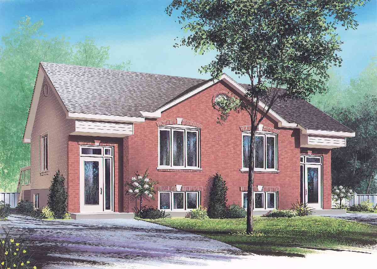 Attractive two family home plan 21245dr architectural for 3 family house plans