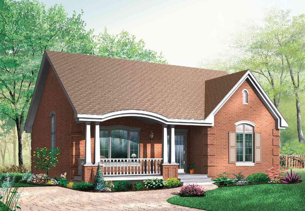 Popular brick house plan with alternates 21275dr for Brick house designs