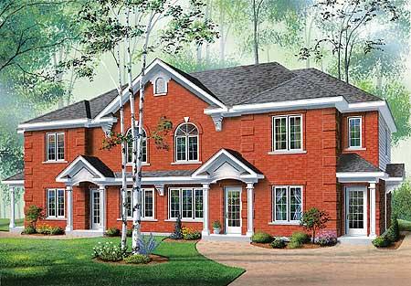 Brick Fourplex 21430dr Architectural Designs House Plans