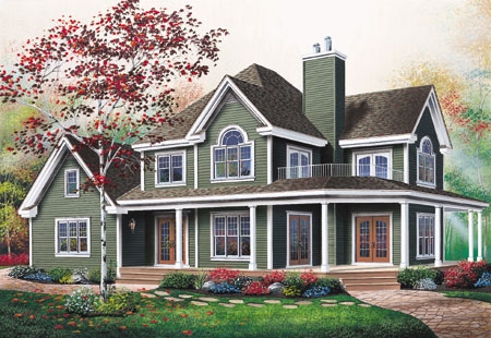 Wonderful wrap around porch 2118dr country farmhouse for Canadian country house plans