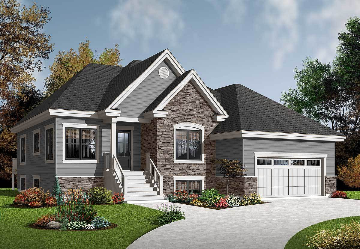 Bungalow with twin porches 21488dr architectural for Twin home plans
