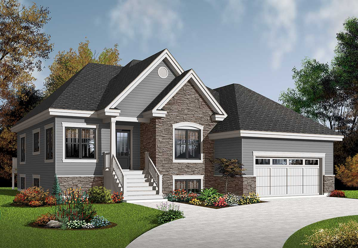 Bungalow with twin porches 21488dr architectural Twin bungalow plans