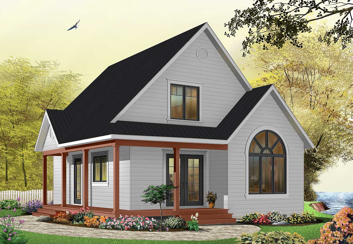 Country cottage with wrap around porch 21492dr for Country cottage house
