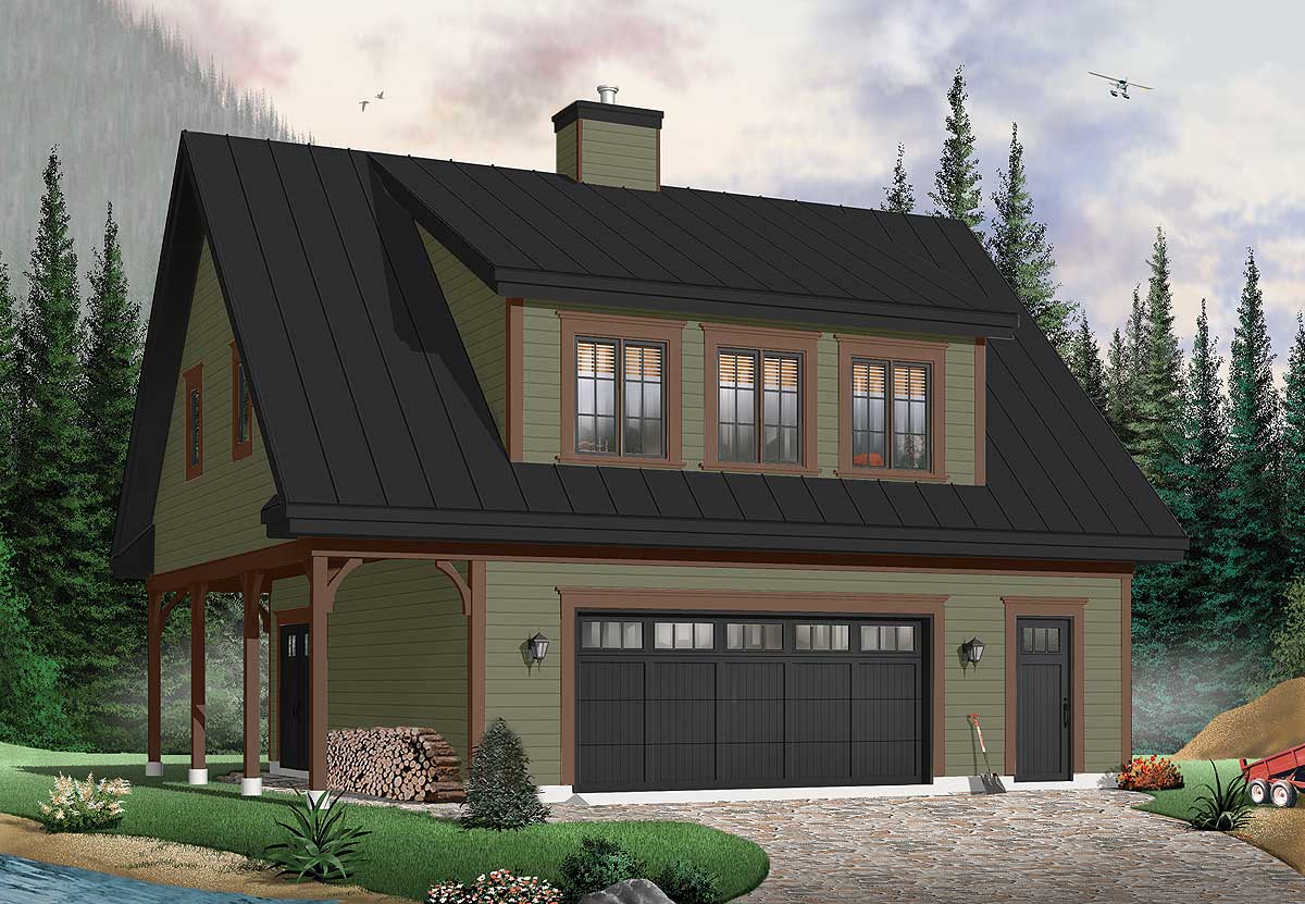 Carriage house with shed dormer 21550dr 2nd floor master suite cad available canadian 3 car garage with master bedroom above