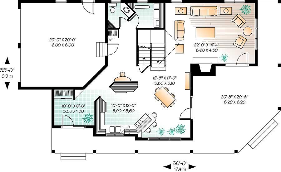 Wonderful Wrap-Around Porch - 21558DR floor plan - Main Level