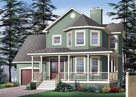 Classic porch and bay windows 21570dr 2nd floor master for House plans with bay windows