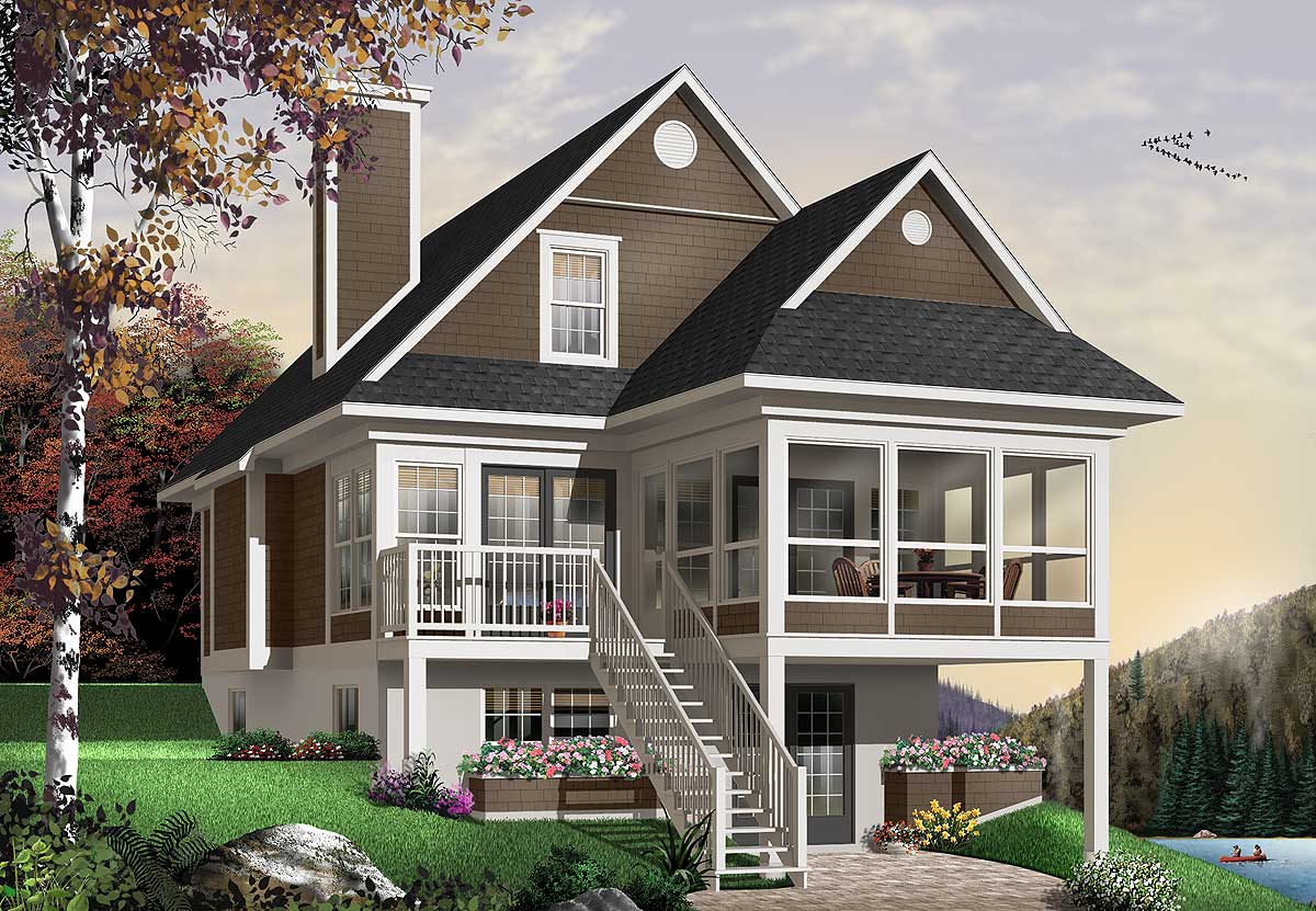 Four seasons sloping lot cottage 21571dr architectural for The design home