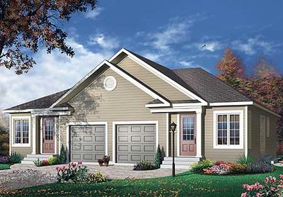 Duplex with center car garage for privacy 21574dr for Semi detached house plans with garage