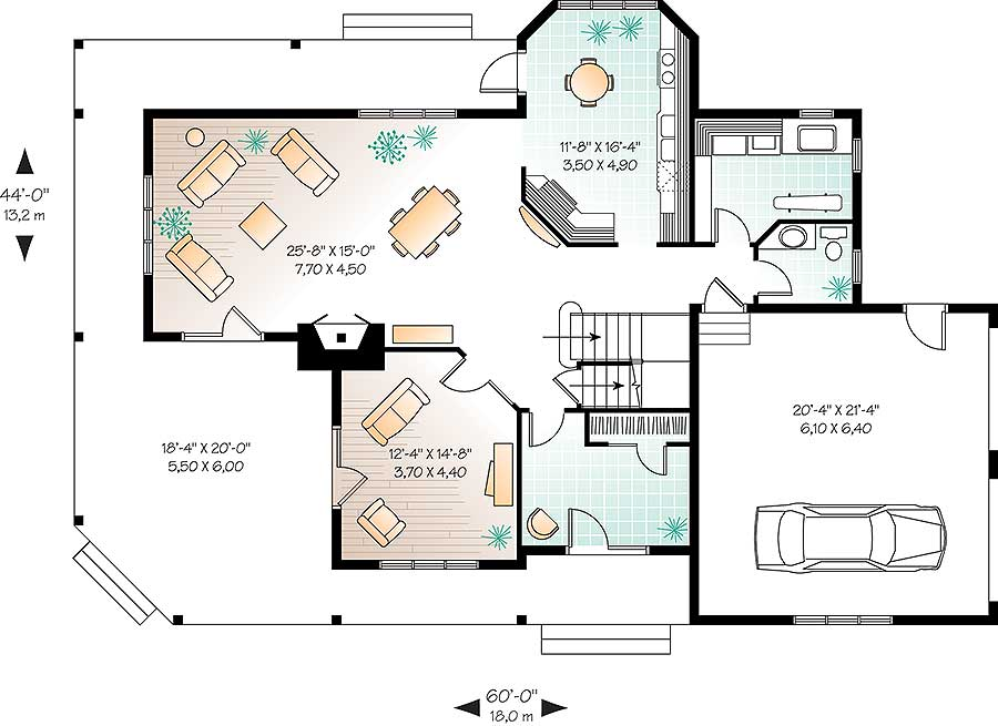 Comfortable Country Home Plan - 21575DR floor plan - Main Level