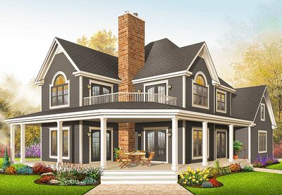 Comfortable Country Home Plan - 21575DR thumb - 03
