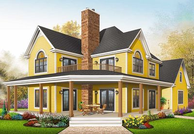 Comfortable Country Home Plan - 21575DR thumb - 05