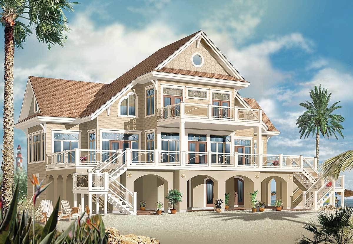 Vacation beach house plan 21638dr 1st floor master for Beach home plans with elevators