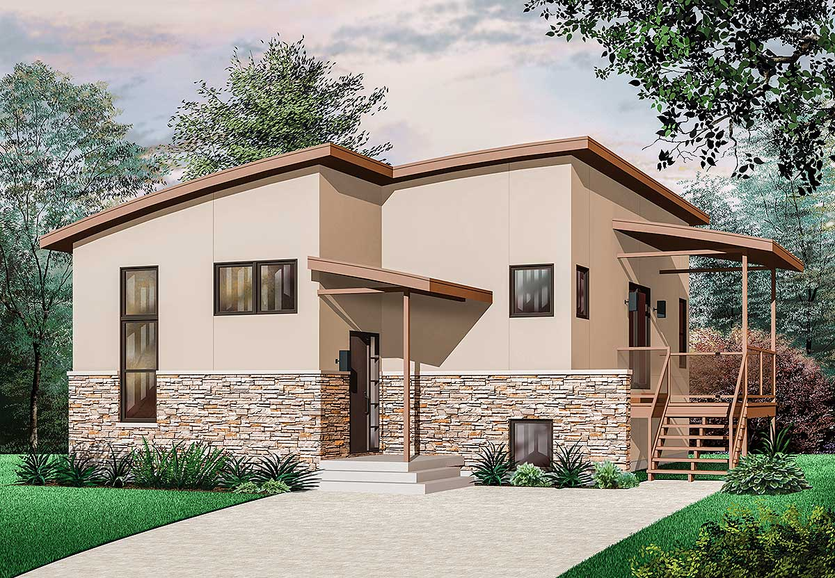 Narrow lot contemporary house plan 21676dr for Modern home plans for narrow lots