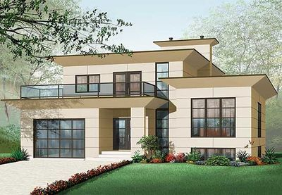 Modern House Plan with 2nd Floor Terace - 21679DR ...