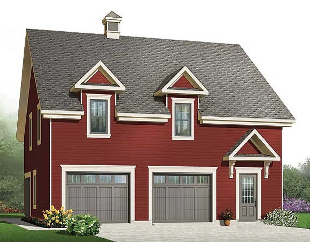 3 car garage with storage 21691dr bonus room cad for Garage plans with storage