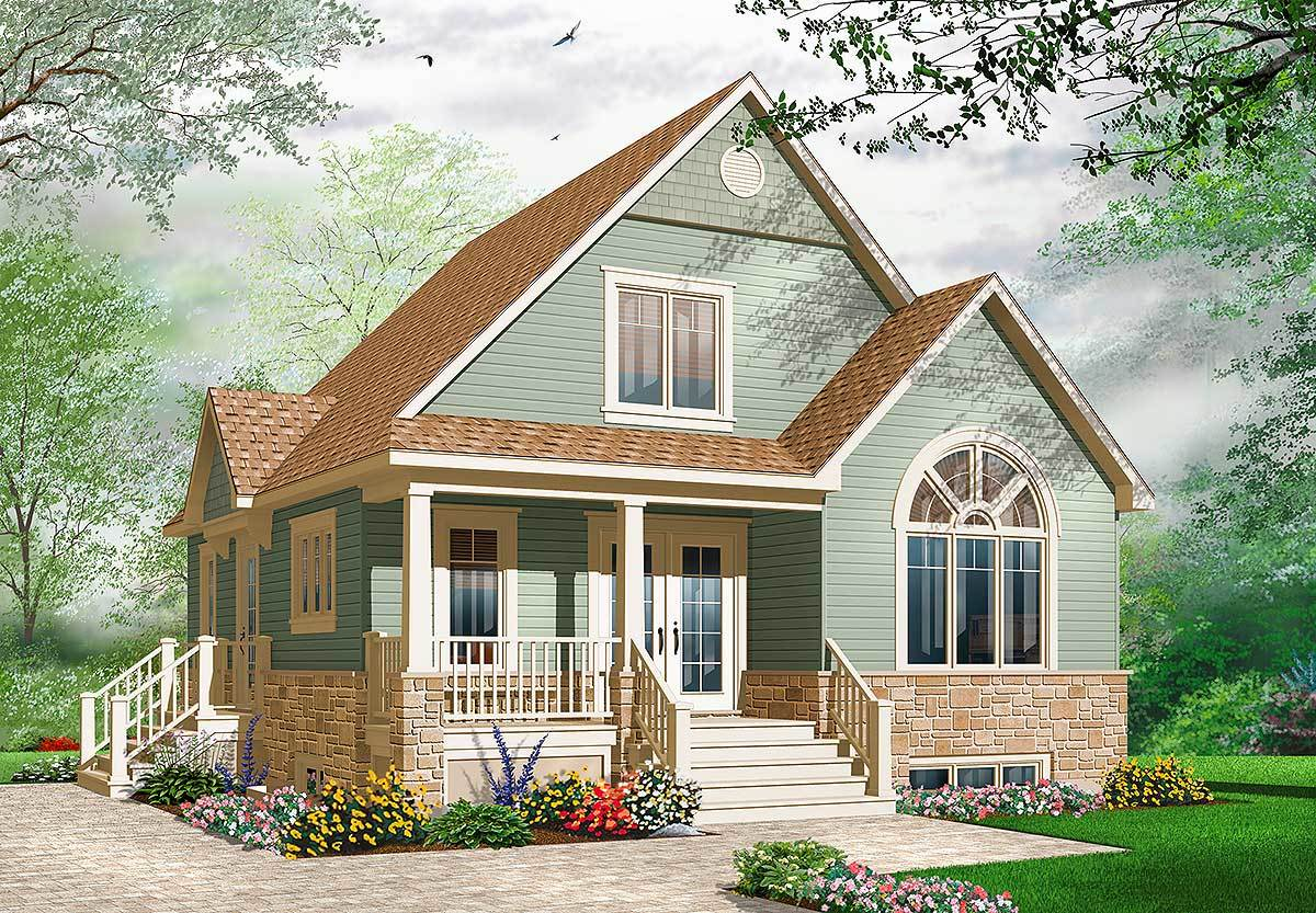 Cozy cottage with covered porch 21735dr architectural for Cottage architectural plans