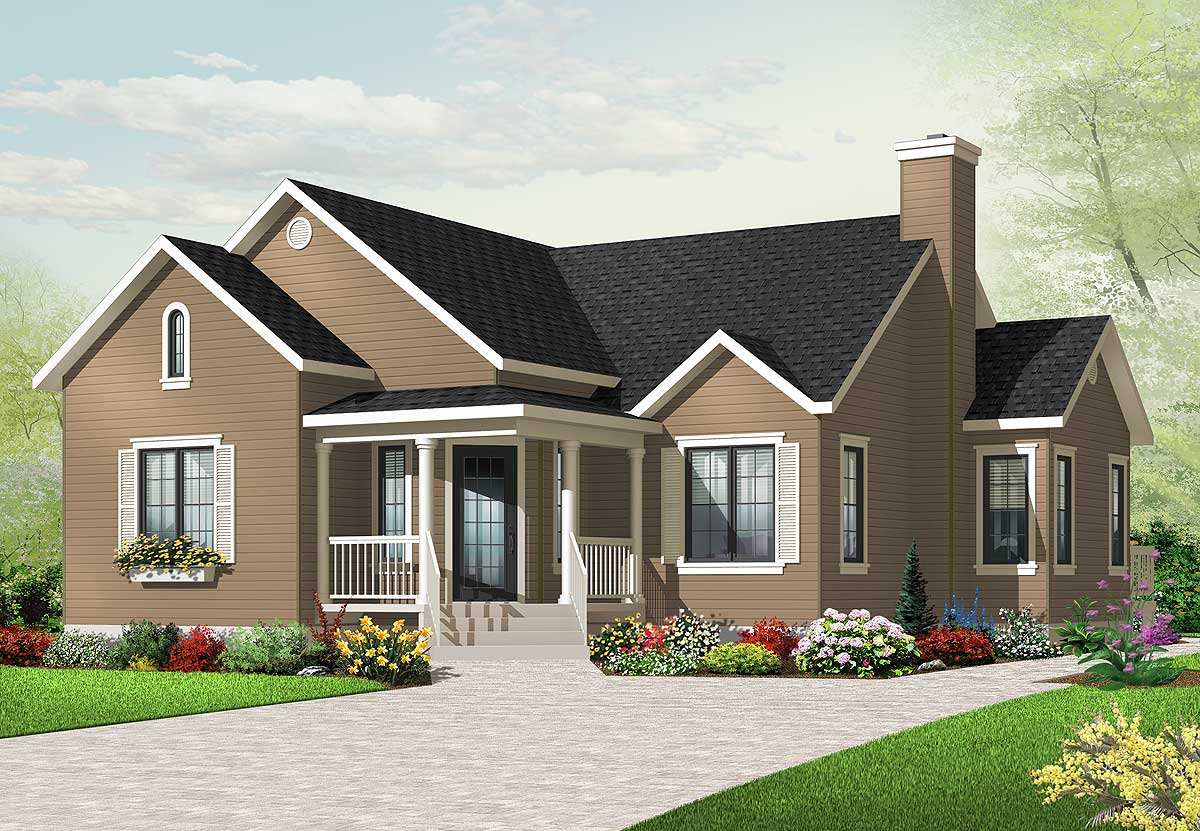 Three bedrooms with angled entry 21787dr architectural for Angled entry house plans