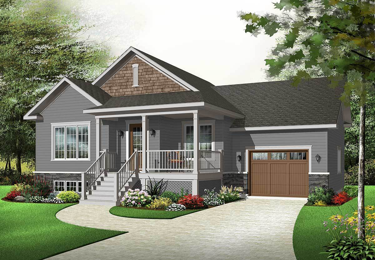 Raised front porch for rocker 21802dr architectural for Front porch house plans