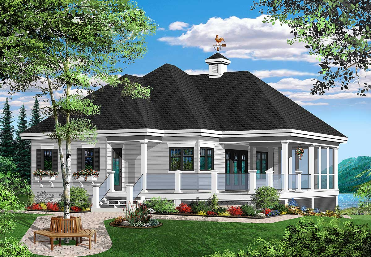 Attractive vacation cottage 21854dr architectural for Vacation home plans