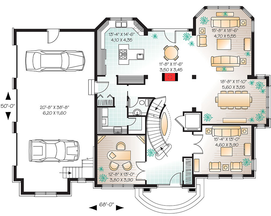 Manor house plan with elevator 21886dr architectural for Home plans with elevators