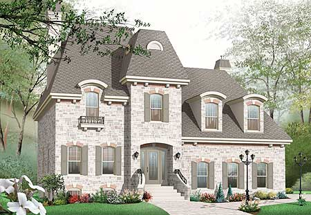 Roomy home plan with mansard roof 21887dr cad for French mansard house plans