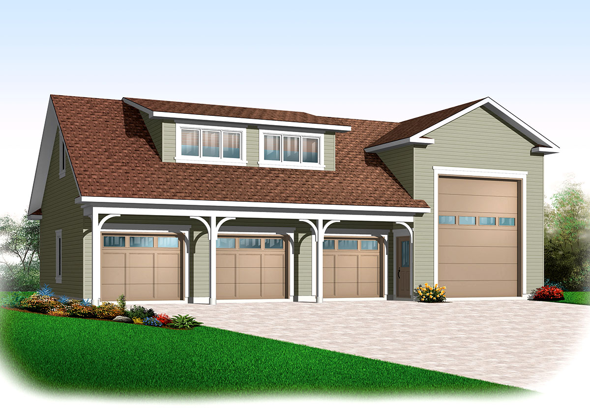 4 car rv garage 21926dr architectural designs house for Rv garage plans with workshop