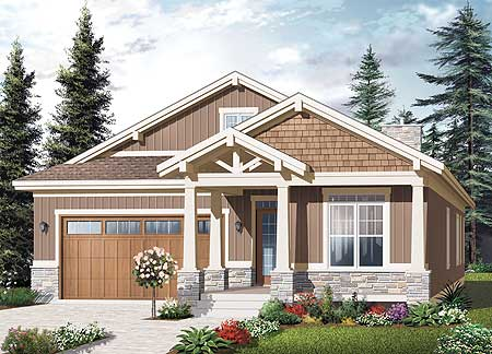 Craftsman ranch with nested gables 21938dr craftsman for Craftsman gable