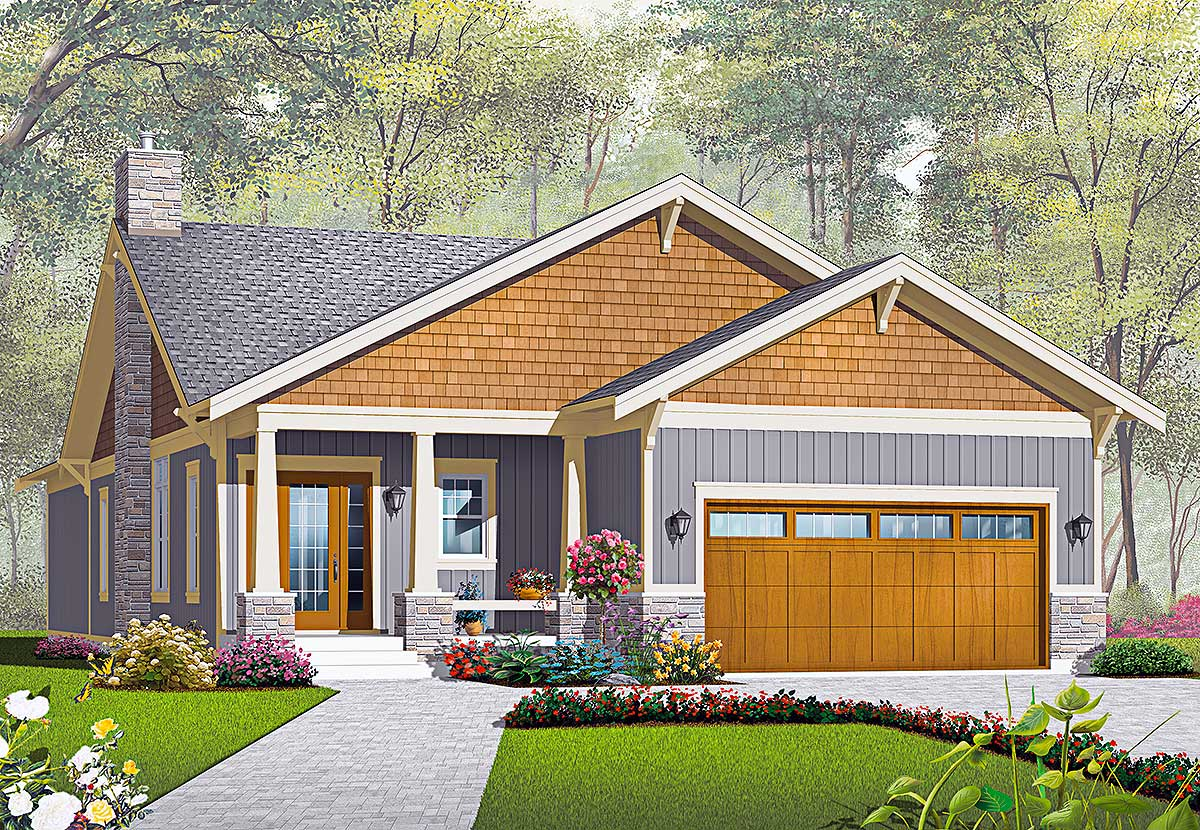 One story craftsman with options 21939dr architectural for Plan maison bungalow avec garage