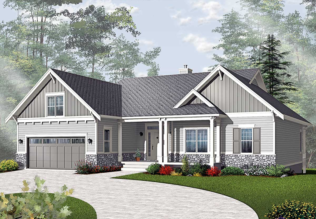 Airy craftsman style ranch 21940dr architectural for Ranch style home plans with 3 car garage