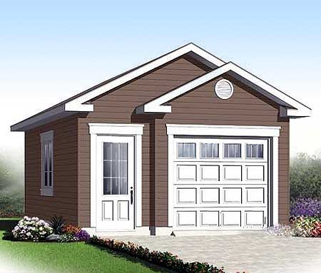 Attractive single car garage 21942dr architectural for 1 car garage plans