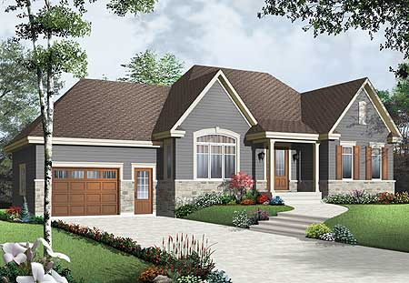 Cozy bungalow with attached garage 21947dr House plans with 4 car attached garage