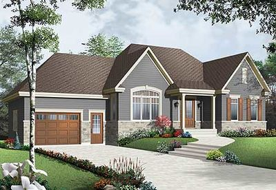 Cozy bungalow with attached garage 21947dr for Bungalow house plans with attached garage