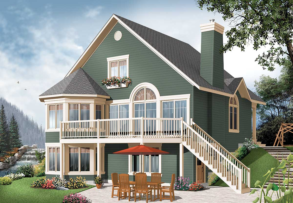 Year round cottage with options 21960dr 2nd floor for Daylight basement home plans