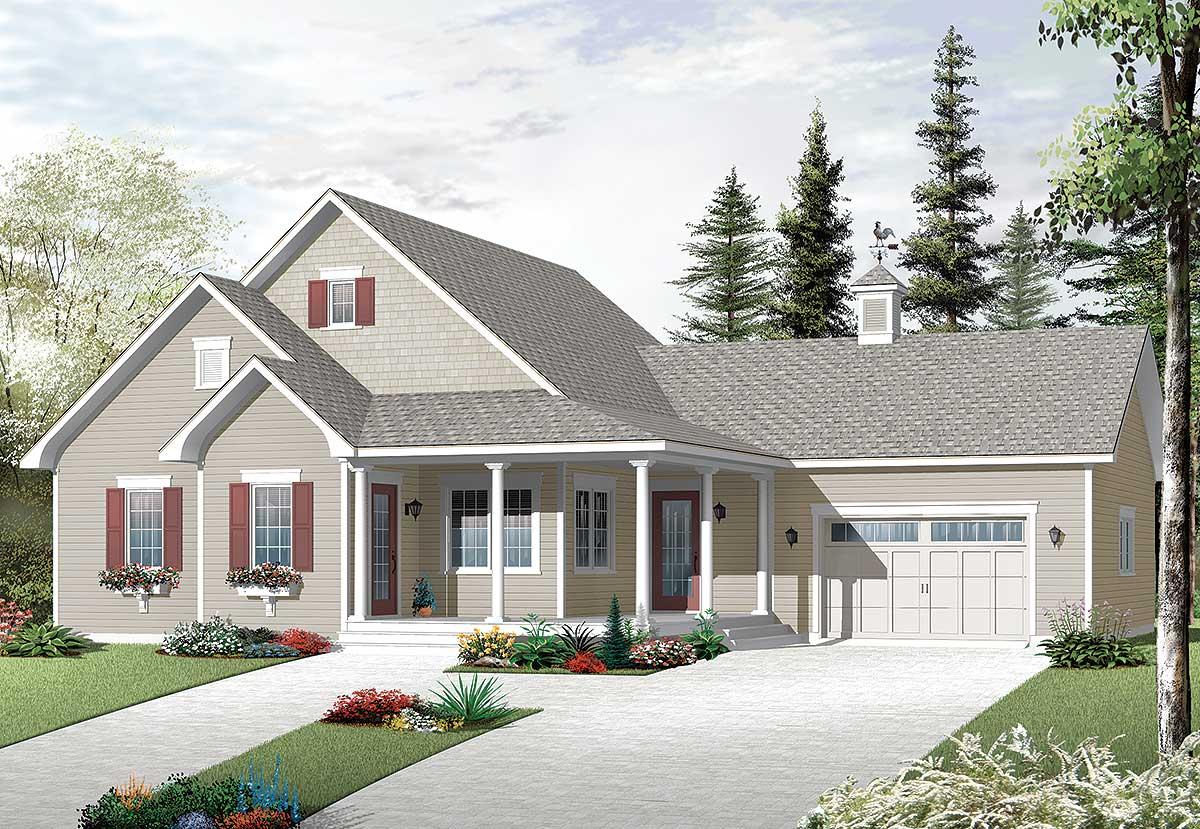 Country cottage with cozy garage 21965dr architectural for Bungalow house plans with basement and garage