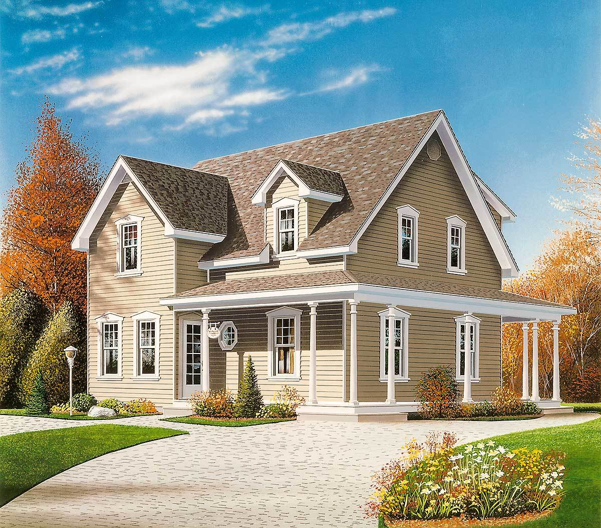 Narrow lot country home plan 2199dr 2nd floor master for Canadian country house plans