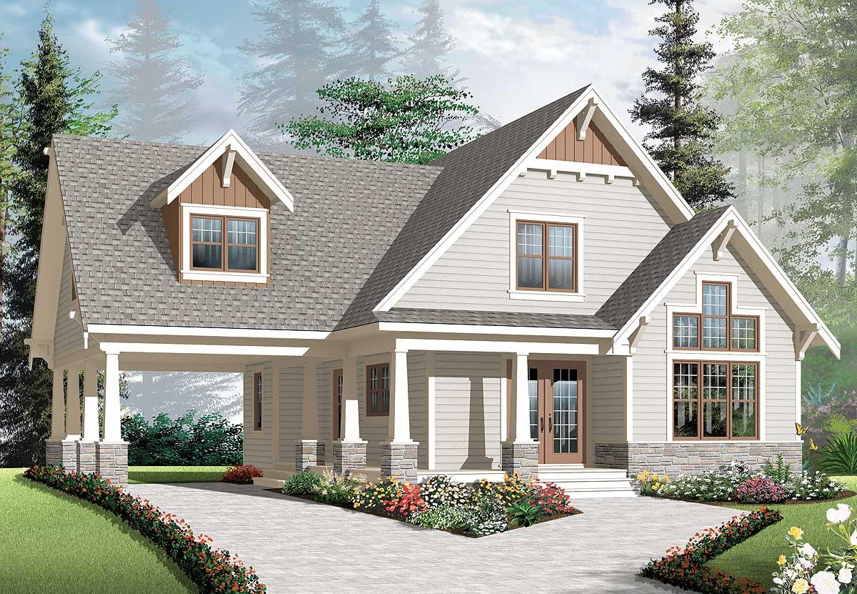 Graceful Porch And Carport 21992dr Architectural Designs House Plans